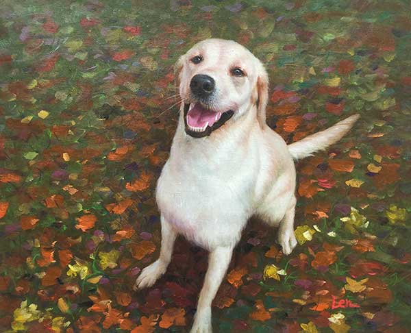 an oil painting of a white labrador on fall leaves happy
