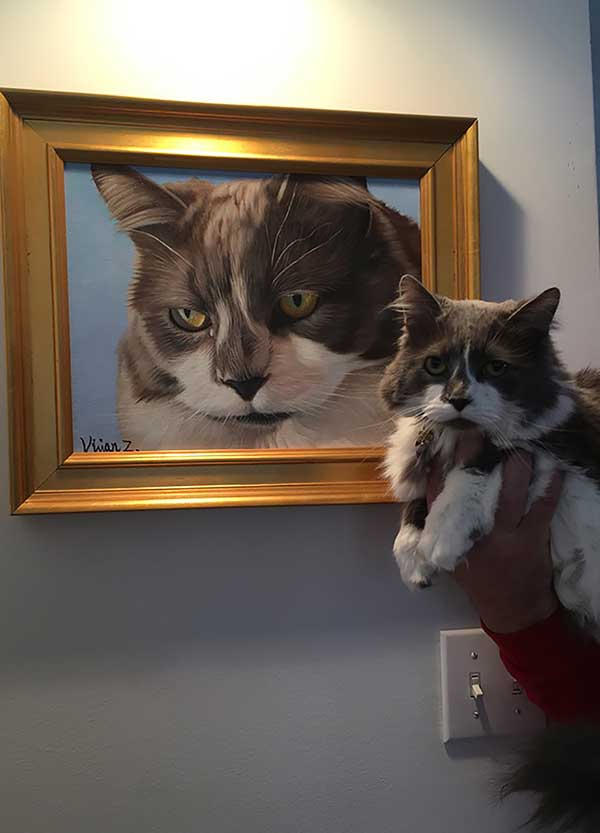 an oil painting of a cat with beautiful dark yellow eyes