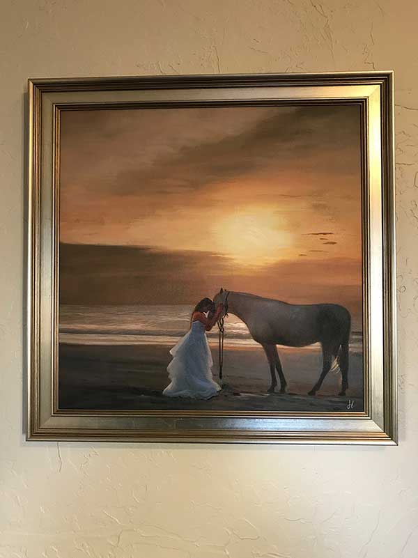 an oil painting of a horse and a woman on the beach dawn sunset