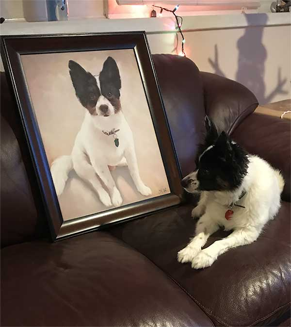 a beautiful oil painting small white doggie