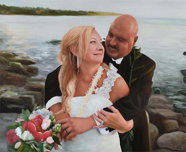 a beautiful oil painting of a couple at their wedding by the beach