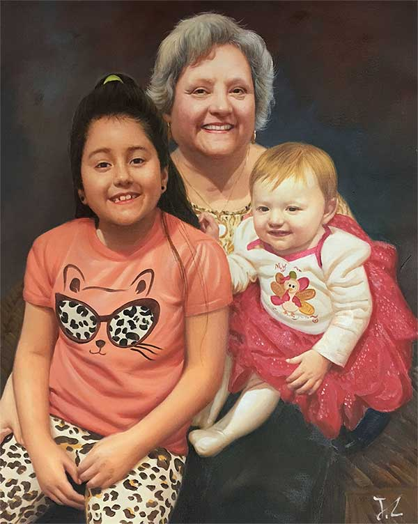an oil painting of a grandmother and kids together