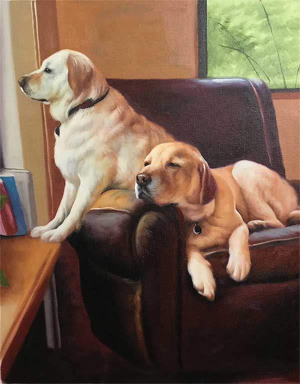 an oil painting of two white labs relaxing in the coach