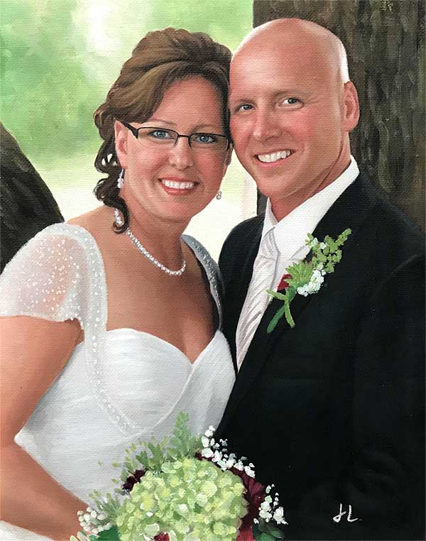 An oil painting of a beautiful wedding