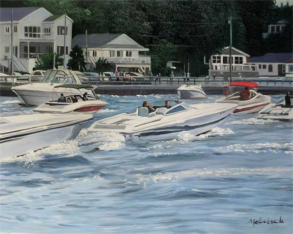 an  oil painting of many boats near the seaport