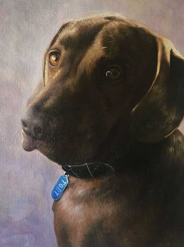 an oil painting of a brown Labrador lab