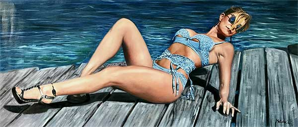 an oil painting of a woman posing by the docks