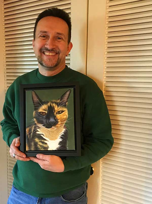 an oil painting of a brown black spot cat