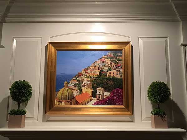 an oil landscape painting of positano italy