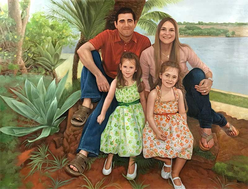 a custom oil painting of family outdoors