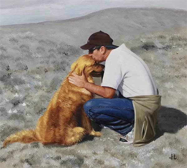 an oil painting of a golden retriever and the owner at the beach