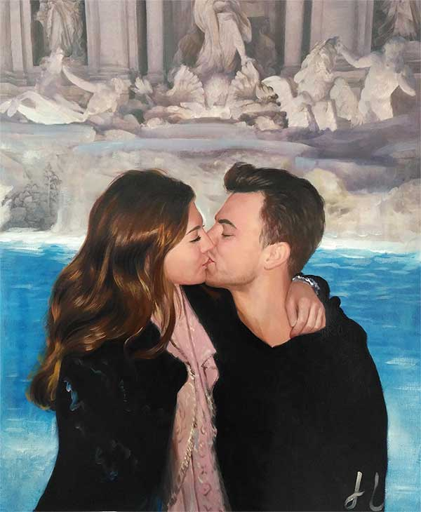 an oil painting of a couple by the  fountain statues