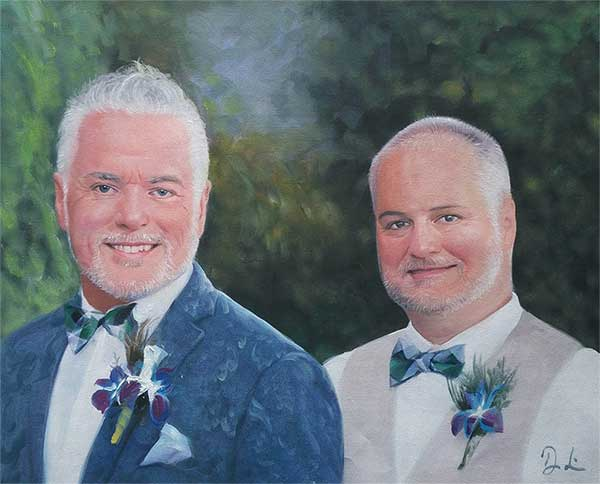 a beautiful oil painting portrait of a gay couple
