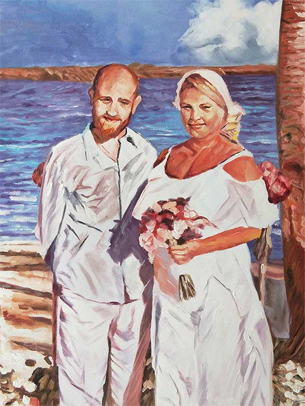 an oil painting of a couple by the beach wedding art style