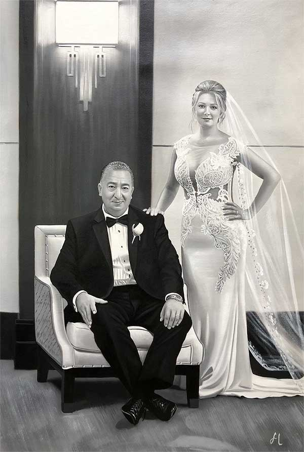a black and white oil painting of a couple wedding portrait