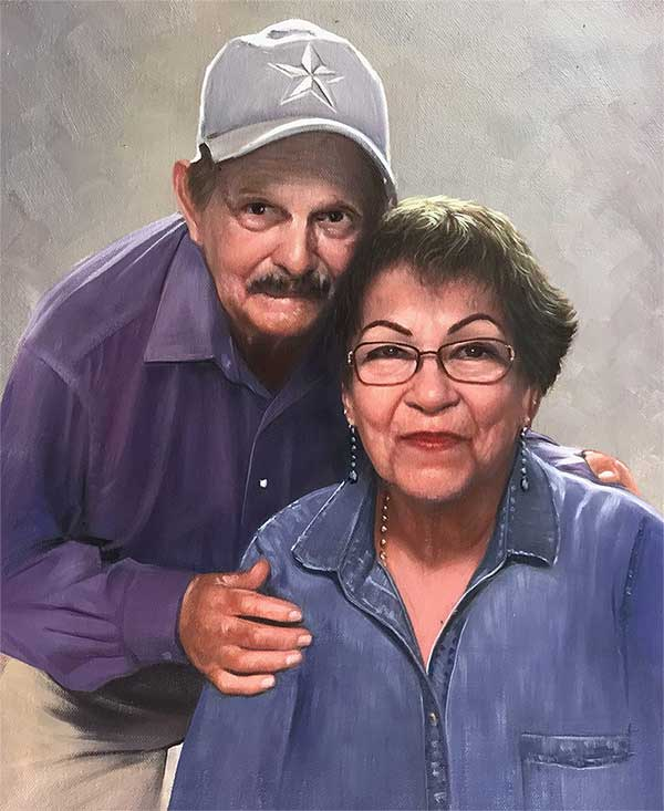 an oil painting of an loving elderly couple