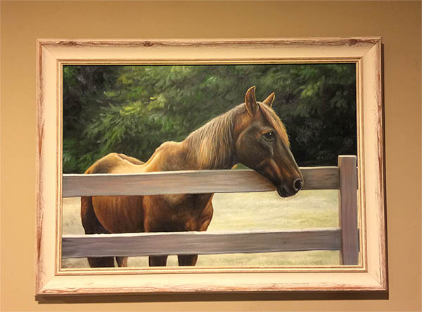 an oil painting of a horse by the fence