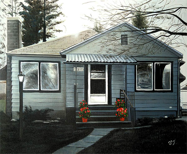 an oil painting of a house with white flowers