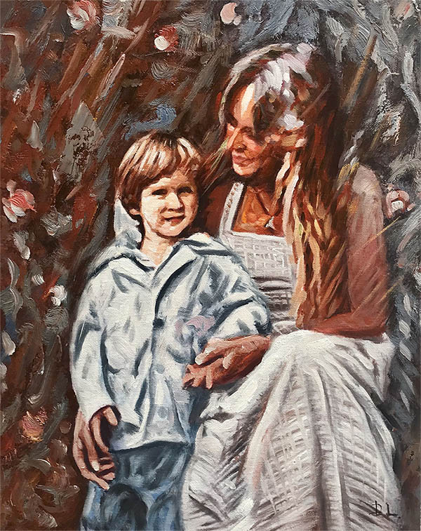 an oil painting in art style family mother and son