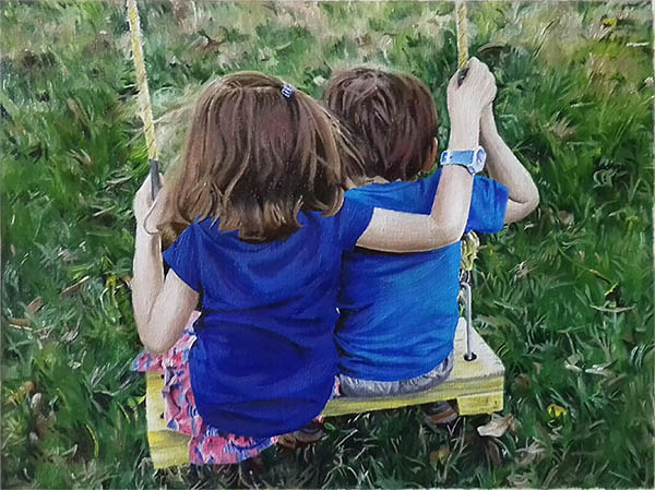 an oil painting of two children on a swing blue shirt green grass
