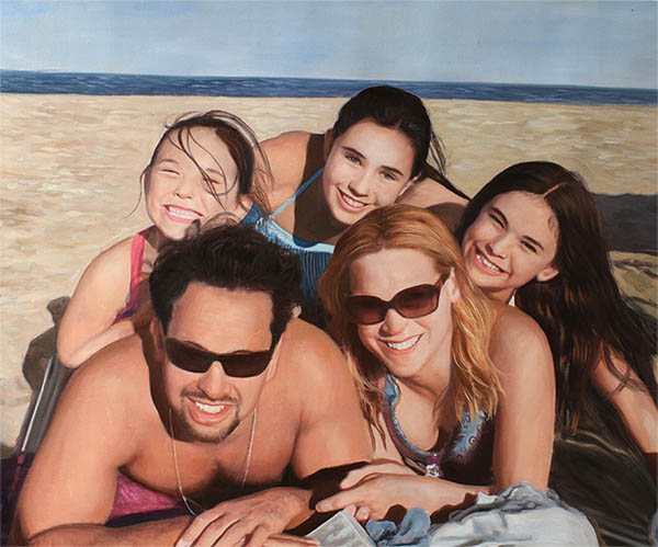 an oil painting of a family on a beach