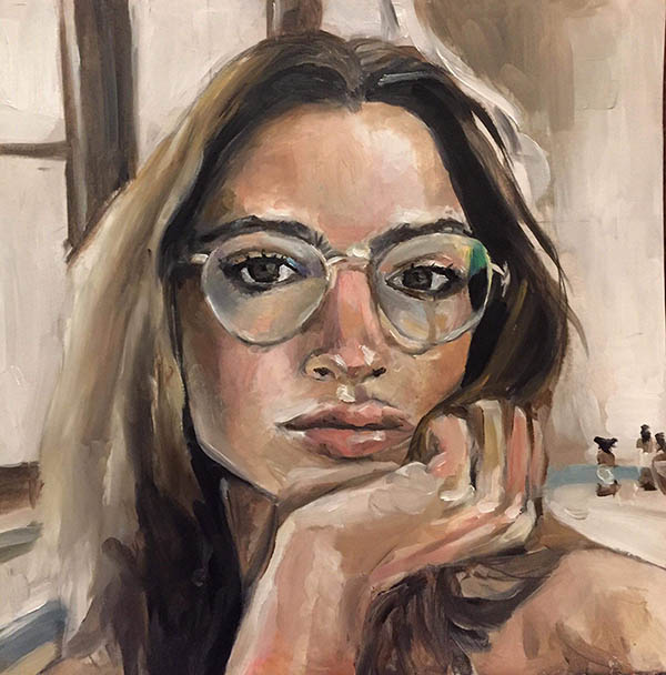 an oil portrait of a lady with the glasses