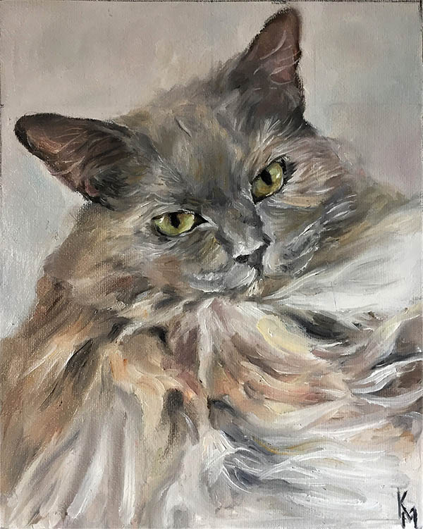 an oil painting of a grey cat