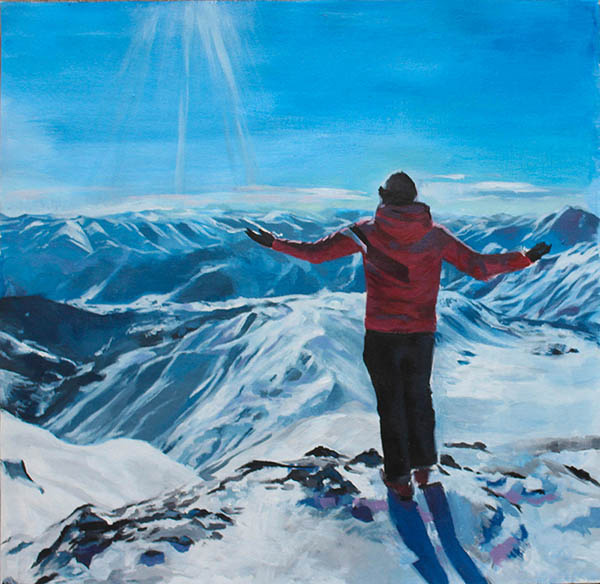 custom acrylic painting of man skiing in snowy mounts
