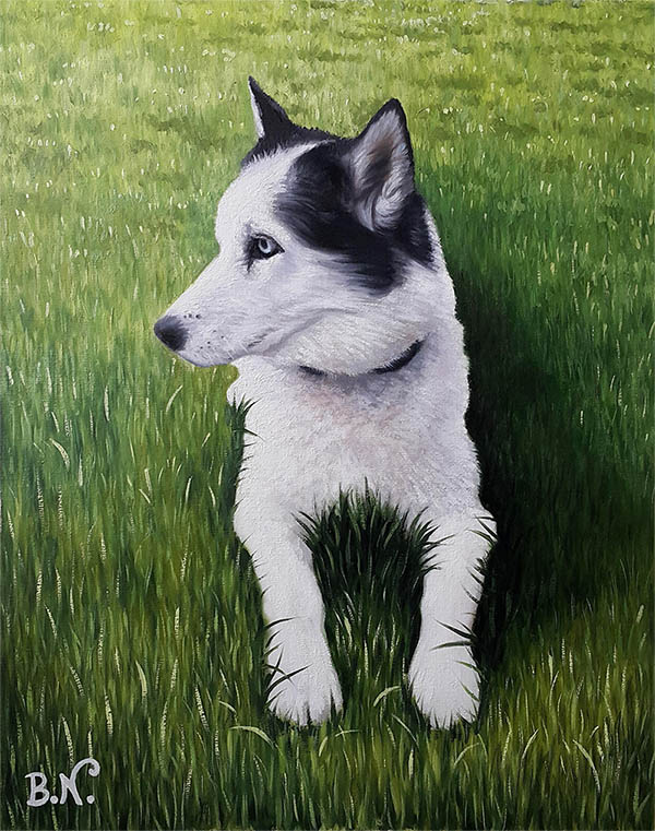 an oil painting of a husky puppy in the grass