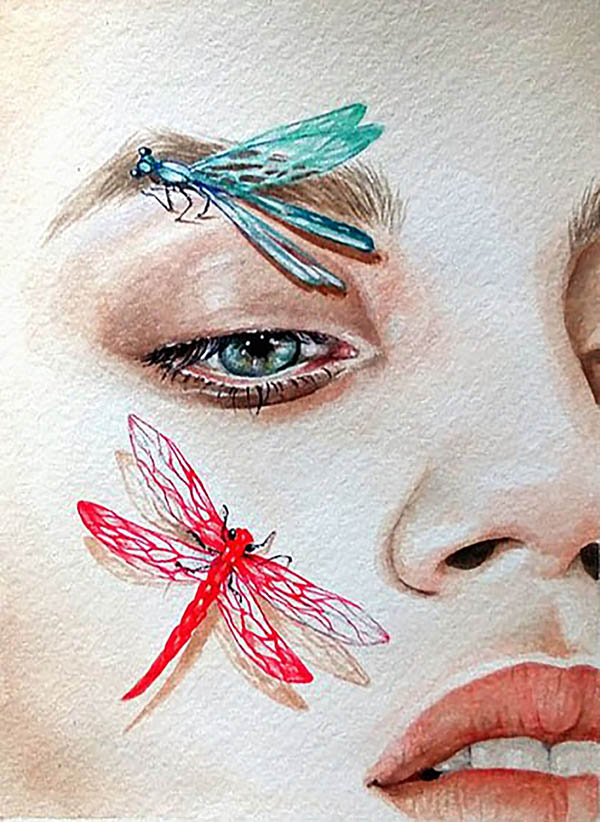 custom watercolor painting of woman with dragonflies