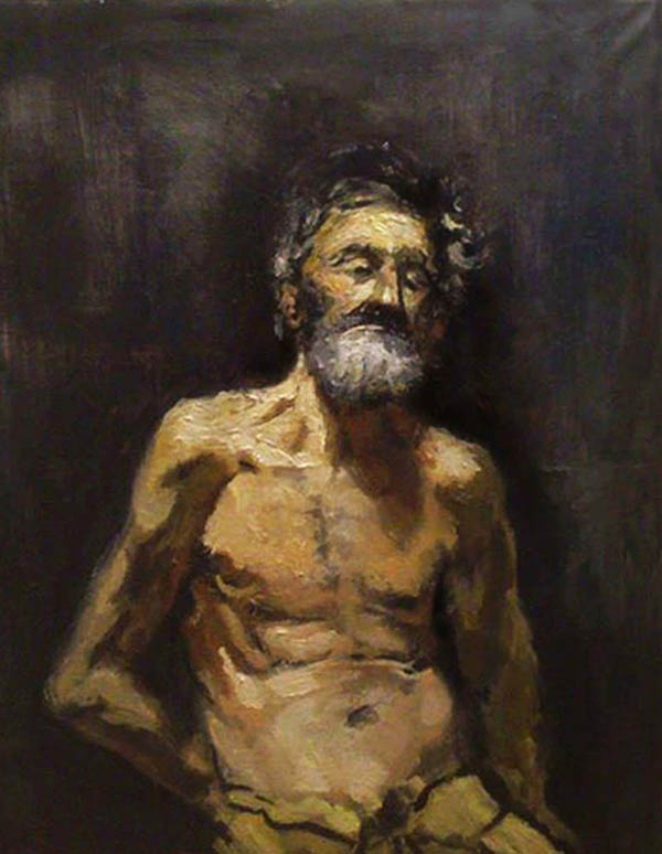 an oil painting of an elderly man
