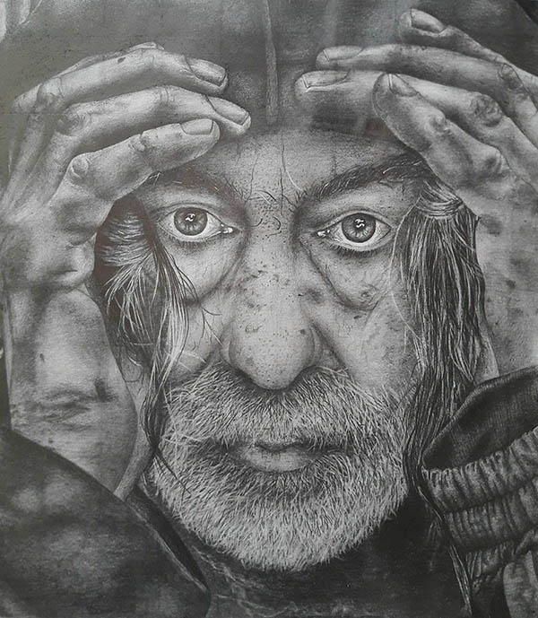 charcoal emotional drawing