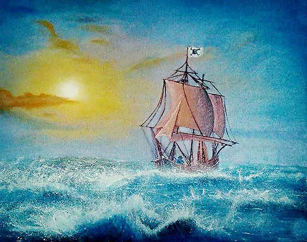 Custom oil handmade painting of a sheep in the sea