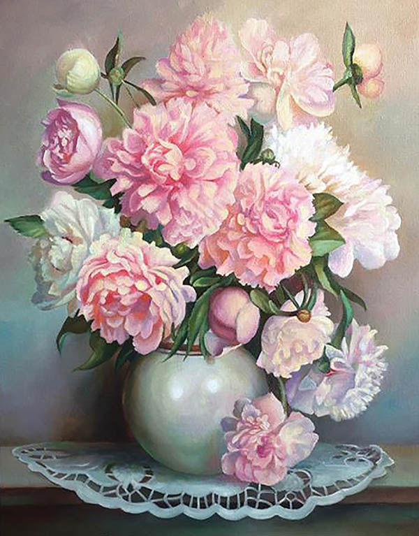 photo to oil painting bouqet of pink flowers