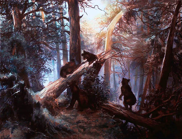 custom oil painting of animals in the woods