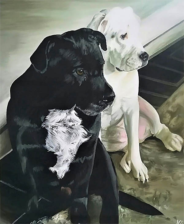 a custom oil painting of black and white dog sitting