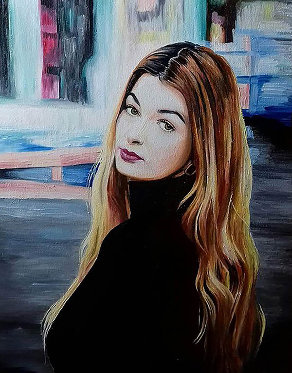 an oil painting of a woman with long light hair