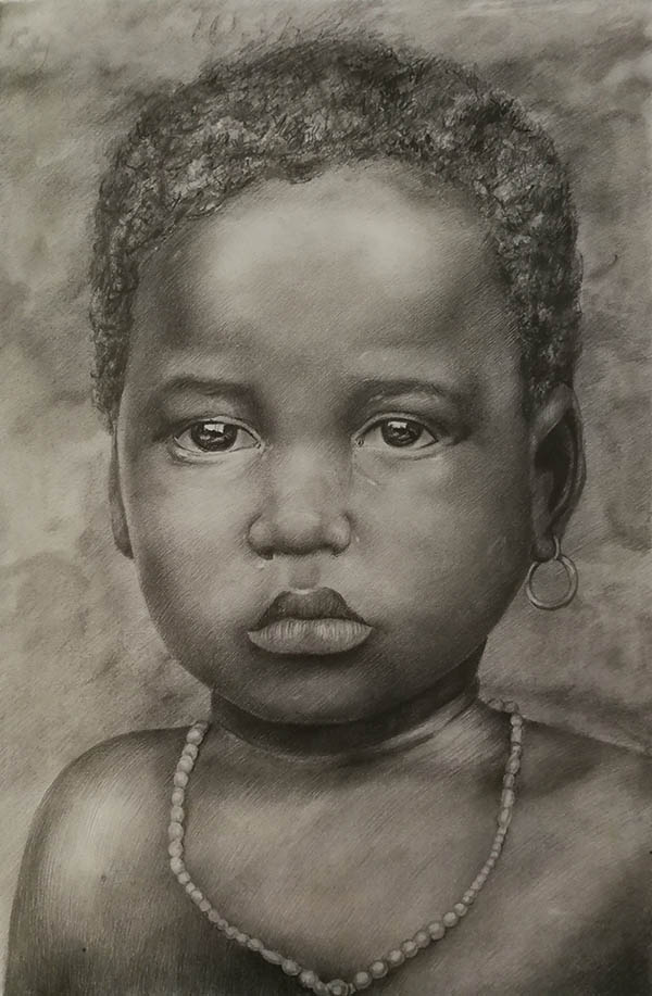 custom pencil drawing of small black baby