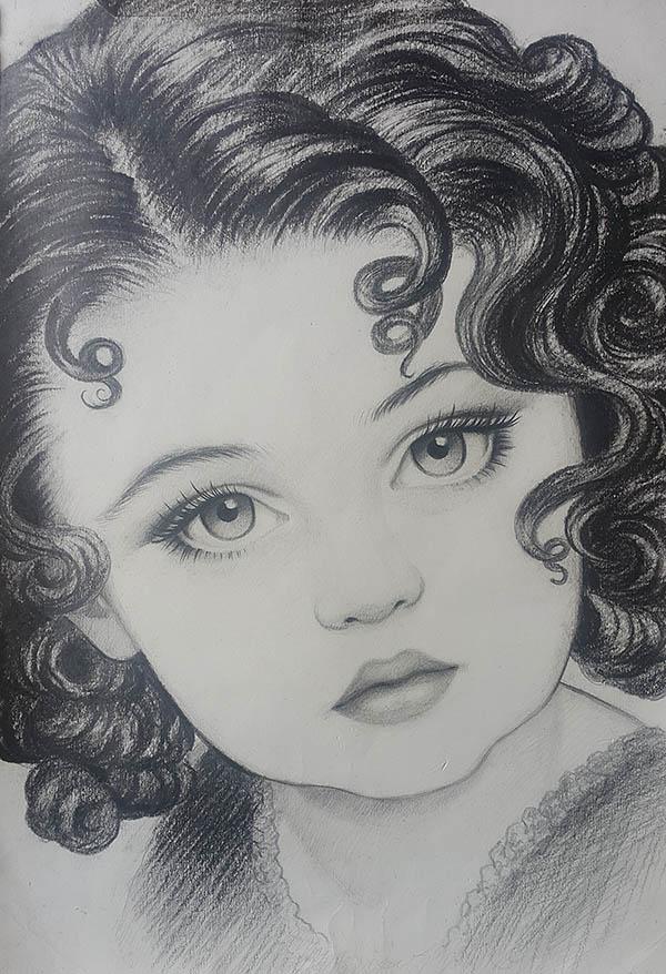 Ritratto di bambina a carboncino da fotografia BN