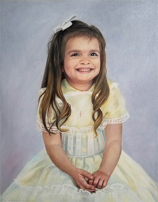 an oil painting of a little girl