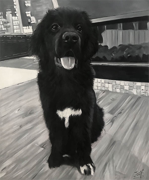 a black and white oil painting of a happy dog