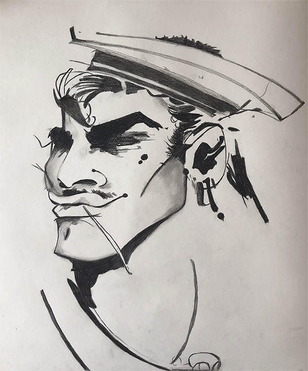 a charcoal painting of a sailor caricature