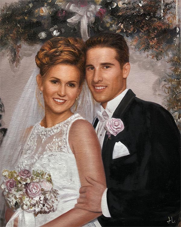 an oil painting of a wedding groom bride