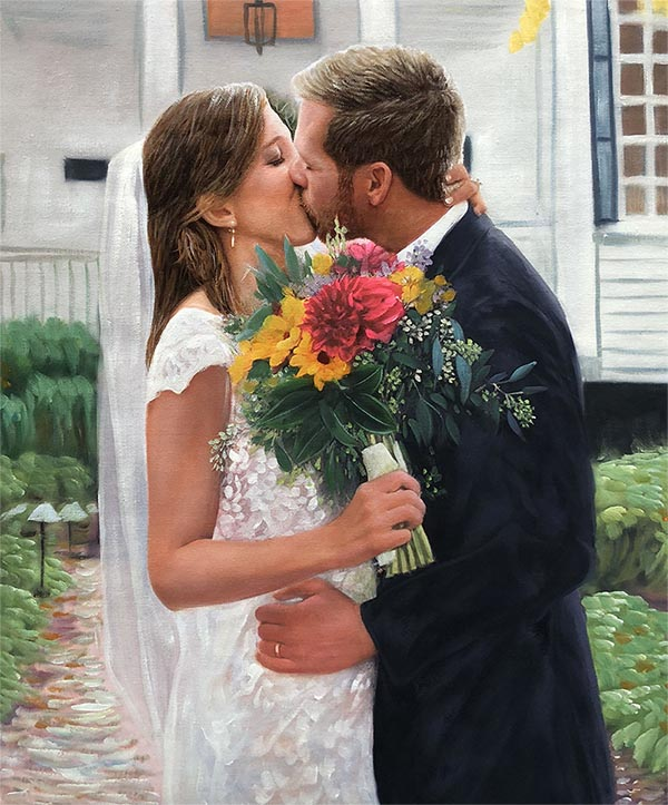 an oil painting of a wedding romantic kiss