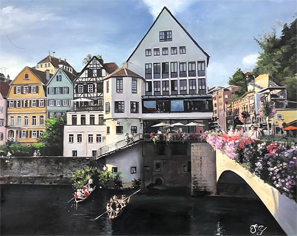 an oil painting of a house by the river