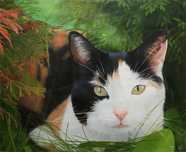 an oil painting of a black white brown cat with green lime eyes