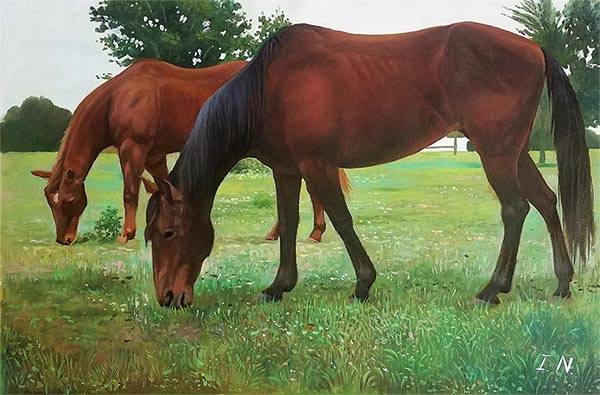 an oil painting of two horses eating grass