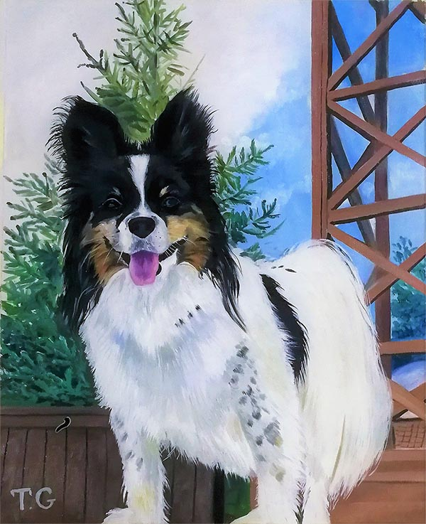 an oil painting of a small white dog with black ears