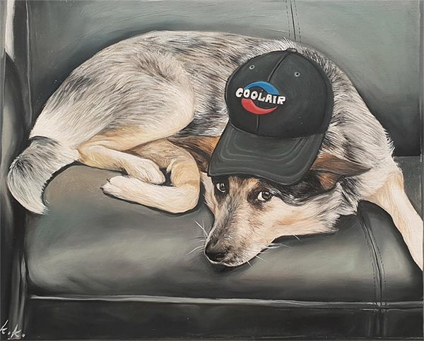 custom dog art with a cap on