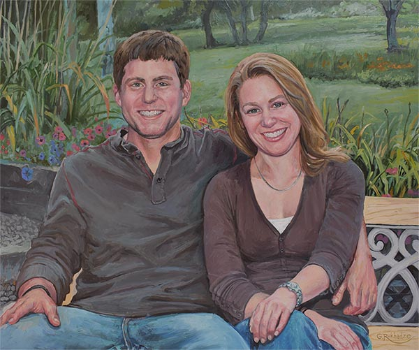 an oil painting of a couple park bench